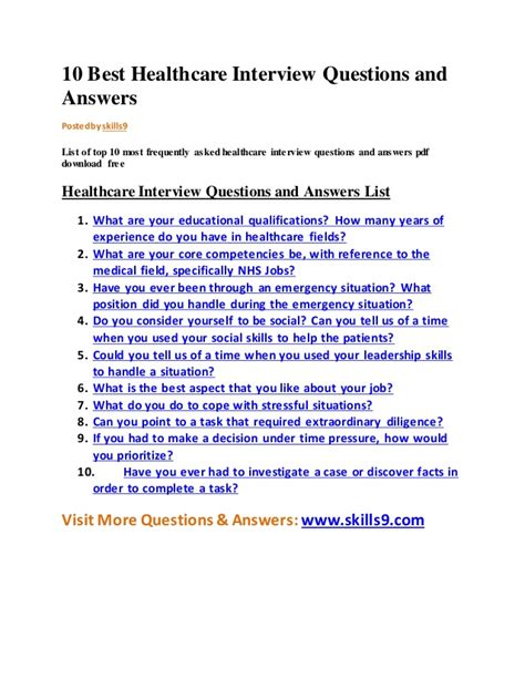 N Question List 10 Best Healthcare Questions And Answers
