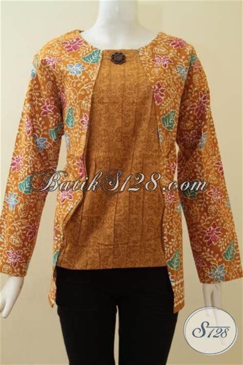 F20217014mot5 L Xl Blus Batik Tulis Panjang Atasan Batik Kantor Mrh blus batik wanita model resleting belakang baju batik