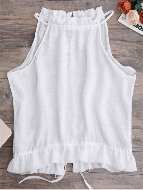 tie back frilled tank top white tank tops s zaful