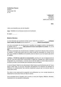 Resiliation Lettre Type Canalsat Lettre De R 233 Siliation De L Abonnement Canalsat Pour Service Non Fonctionnel Mod 232 Le De Lettre