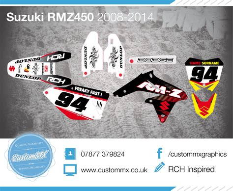 Rch Suzuki Graphics Rch Inspired Suzuki Rm Rmz Graphics Kit Custom Mx