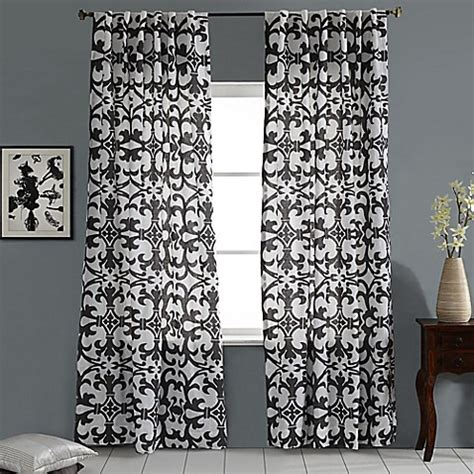 96 inch grey curtains buy linen geo print embroidered 96 inch rod pocket back