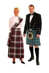 Couple dressed for evening in tartan