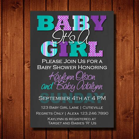 Purple And Teal Baby Shower Invitations by Baby Shower Invitation It S A Purple And Teal Digital