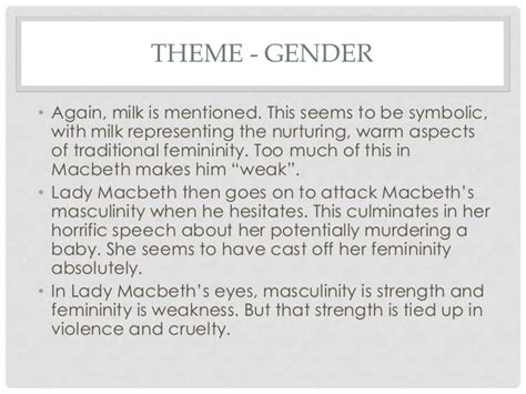 shakespeare s macbeth the theme of gender abridged macbeth revision