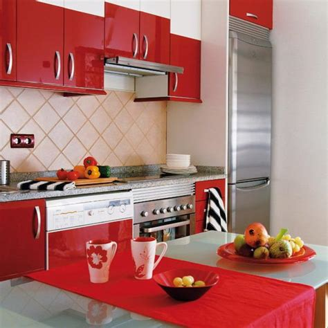 Home Design Modern Kitchen by Red Color Can Revolutionize Small Kitchen Design