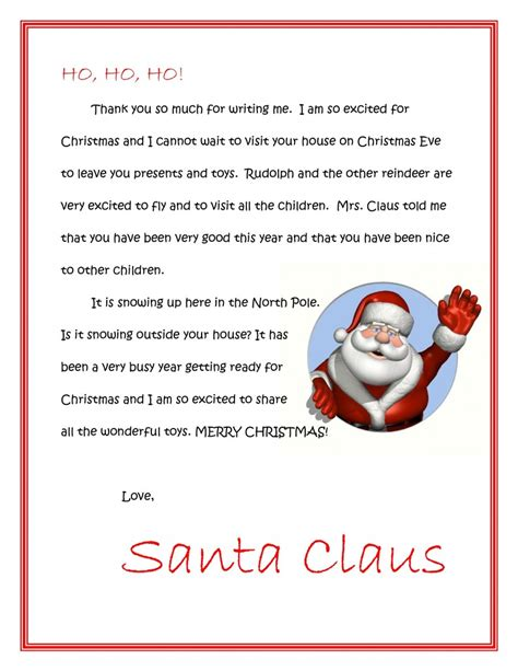 Printable Return Letter From Santa | letter to santa allaboutmanners