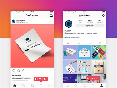 instagram ux design instagram profile design for globus ltd on behance