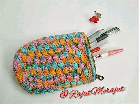 Pen Holder Tempat Pensil crochet pencil tempat pensil rajut dengan katun jepang crochet bag