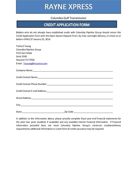 Xpress Credit Form Columbia Pipeline Open Season Notices For Leach Xpress