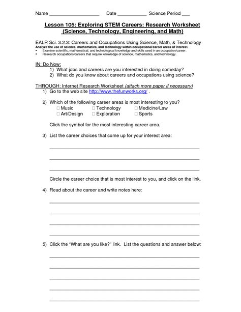 Career Research Worksheet by 9 Best Images Of Career Research Worksheet Career
