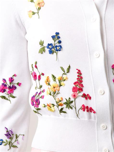 V Neck Floral Embroidered Cardigan oscar de la renta floral embroidered cardigan in white lyst