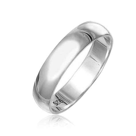 Wedding Bands Silver by Polished 5mm Unisex Sterling Silver Wedding Band