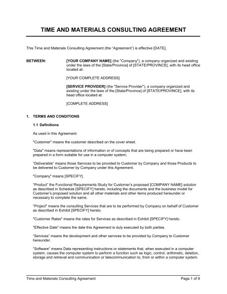 Time And Materials Consulting Agreement Template Sle Form Biztree Com Time And Materials Contract Template Construction