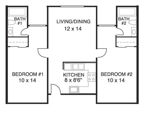 2 bed 2 bath floor plans house plans 2 bedrooms 2 bathrooms home