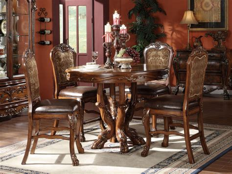 acme 5 pc hennessy collection cherry brown finish wood acme 12160 5pc dresden traditional cherry counter h