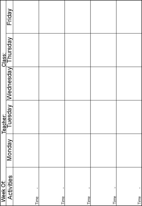 5 day lesson plan template pin by p on daycare lesson planning