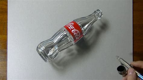 art drawing coca cola empty glass bottle