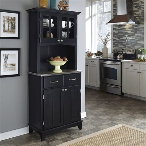 home styles china cabinet shop home styles black stainless steel kitchen hutch at