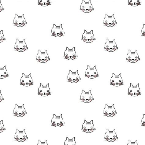 pattern cat drawing cats pattern vector free download