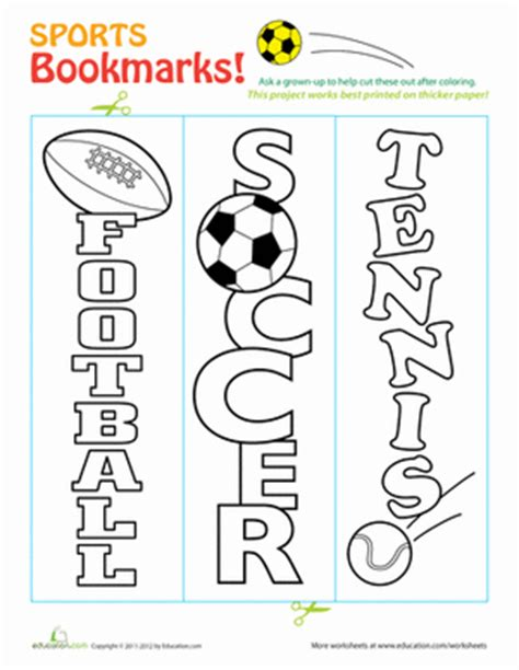 printable bookmarks sports sports bookmarks coloring page education com