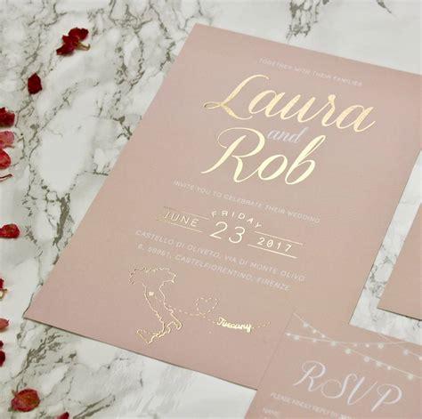 Blush Wedding Invitations type blush and gold wedding invites by rodo