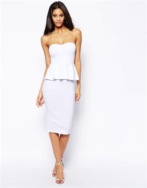 Plain Midi Dress asos plain peplum bandeau midi dress in white lyst