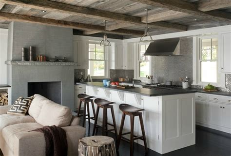 Kitchen Island Cart With Stainless Steel Top rustic plank ceiling cottage kitchen lda architects