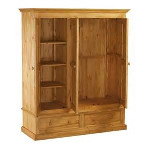 armoire penderie en pin 3 portes 2 tiroirs pays
