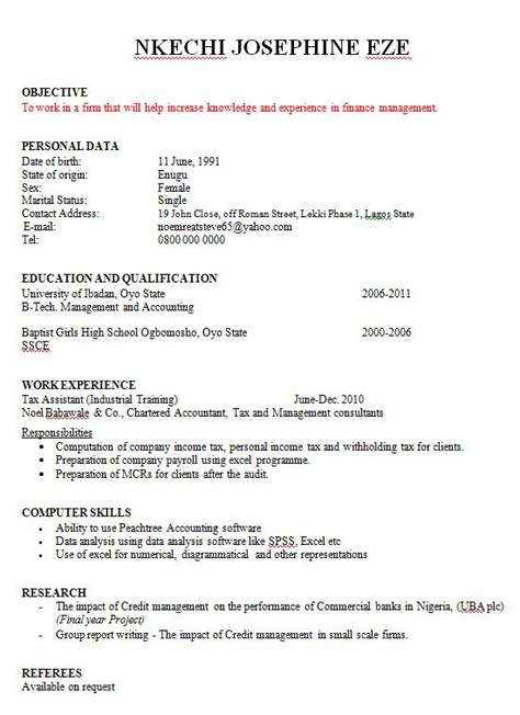 sle cv for nigerian jobs how to write a curriculum vitae in nigeria college