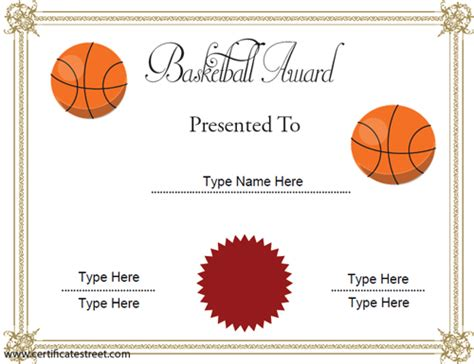 9 best images of basketball certificate templates free