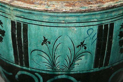 large glazed ceramic planters large hunan turquoise glazed antique ceramic planter at 1stdibs