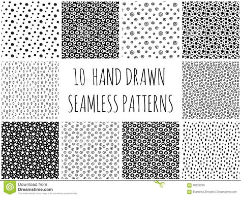 dot pattern drawing hand drawn polka dot seamless patterns collection stock