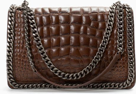 Zara Bag Z125 Brown zara croc city bag with chain in brown brown lyst