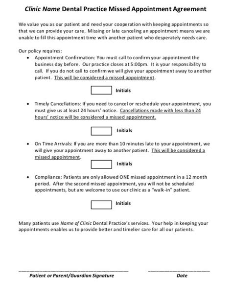 dentist appointment letter template missed appointment letter template 6 free word pdf
