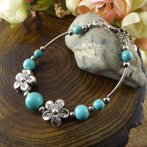 Cheap Handmade Jewelry - cheap fashion vintage tibetan flower turquoise charm