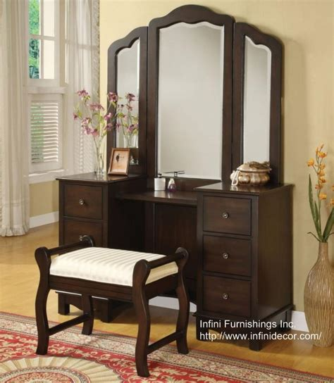 Bedroom Dresser Set 3pc Elizabeth Vanity Set Vanity Table Mirror Bench