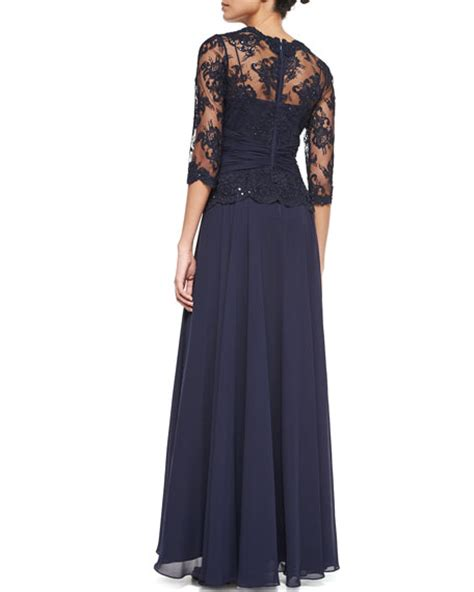 rickie freeman for teri jon 34 sleeve lace overlay gown navy rickie freeman for teri jon 3 4 sleeve lace chiffon peplum