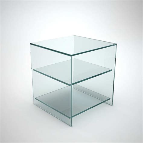 judd glass side table with shelves klarity glass furniture