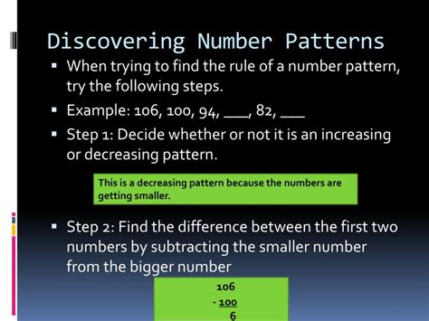 decreasing pattern rule ppt number patterns in math powerpoint presentation id