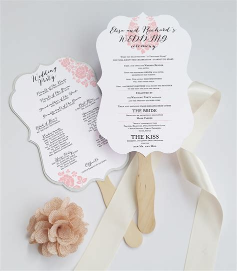 wedding program fans die cut wedding program fan deersfield white pink