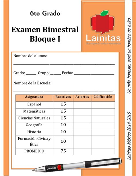 examen bimestral del primer bloque de sexto grado ciclo escolar 2014 lainitas examen 2014 2015