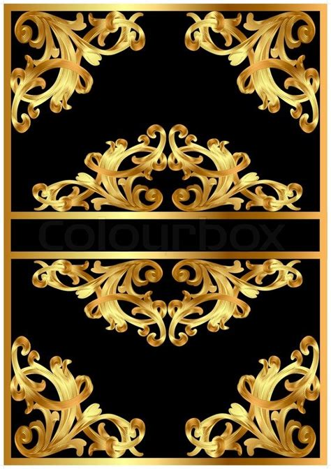 gold pattern frame illustration frame background with gold pattern on black
