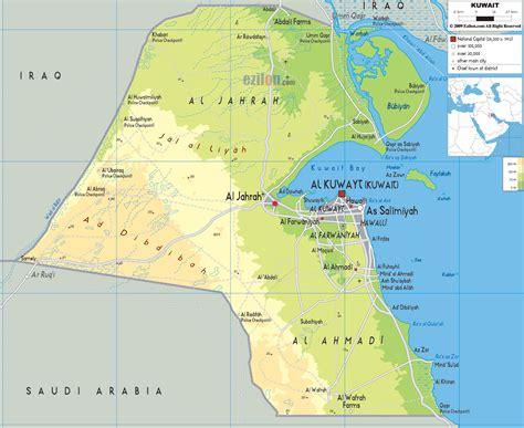kuwait iraq map physical map of kuwait ezilon maps