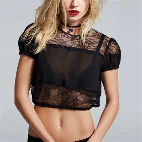 Luxury Top Blouse Crop Bludru haoduoyi womens summer backless sheer mesh shirt lace
