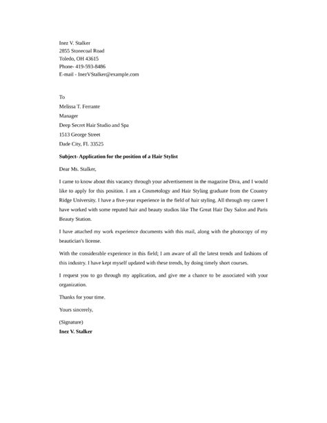 Cover Letter Exles For Hairstylist by Standard Hair Stylist Cover Letter Sles And Templates