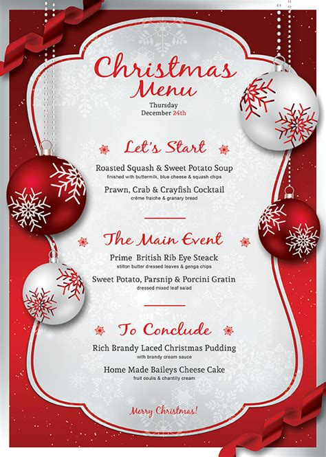 christmas eve menu template psd v 4 psd templates store