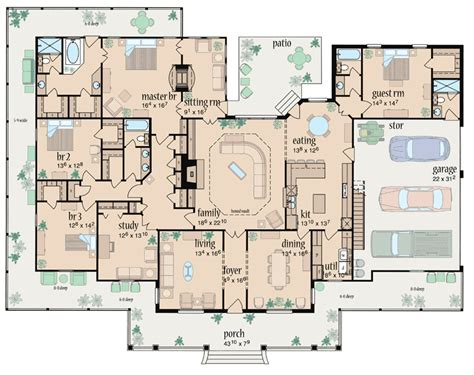 floor plan of traditional house plan 56319