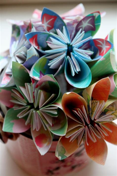 Folded Paper Flowers - your with a centerpiece she can keep hgtv s