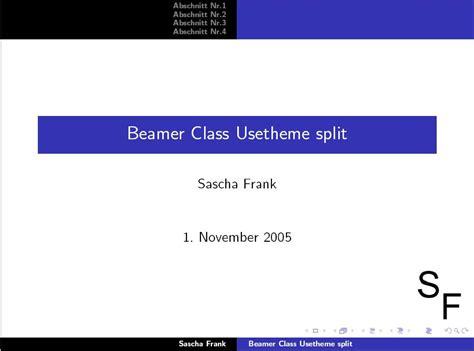 beamer template for powerpoint ustheme split beamer class vorlage